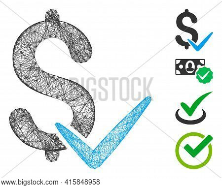 Vector Wire Frame Accept Money. Geometric Hatched Frame 2d Net Made From Accept Money Icon, Designed