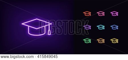 Neon Academic Hat Icon. Glowing Neon Education Sign, Outline Mortarboard Pictogram In Vivid Colors.