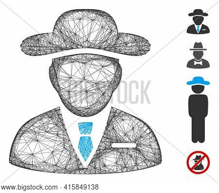 Vector Wire Frame Agent. Geometric Wire Frame Flat Net Made From Agent Icon, Designed From Crossed L