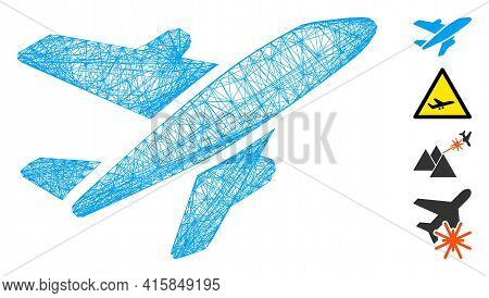Vector Network Aircraft. Geometric Linear Carcass Flat Network Made From Aircraft Icon, Designed Fro