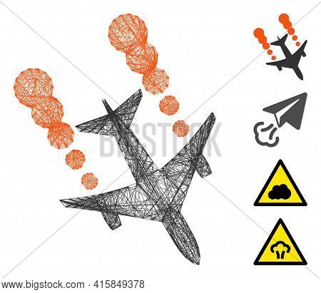 Vector Wire Frame Airplane Smoke Trace. Geometric Wire Frame Flat Network Generated With Airplane Sm