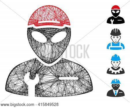Vector Wire Frame Alien Serviceman. Geometric Wire Frame Flat Net Based On Alien Serviceman Icon, De