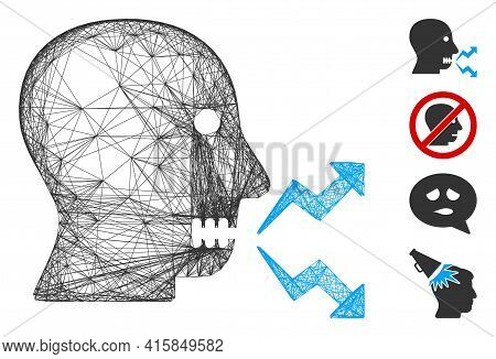 Vector Wire Frame Angry Person Shout. Geometric Wire Frame 2d Network Generated With Angry Person Sh