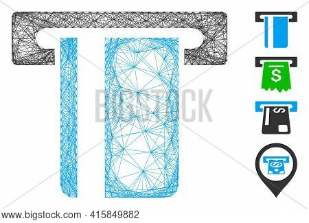 Vector Network Atm Terminal. Geometric Hatched Carcass 2d Network Made From Atm Terminal Icon, Desig