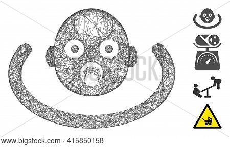 Vector Wire Frame Baby Environment. Geometric Wire Frame Flat Network Generated With Baby Environmen