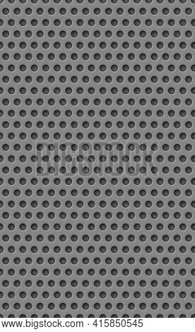 Gray Perforated Background, Many Of The Same Holes - Vector Illustration