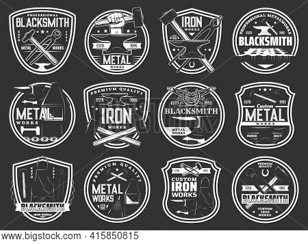 Blacksmith Steel Forging, Iron And Metal Works Workshop Vector Icons. Blacksmith Foundry Anvil And H