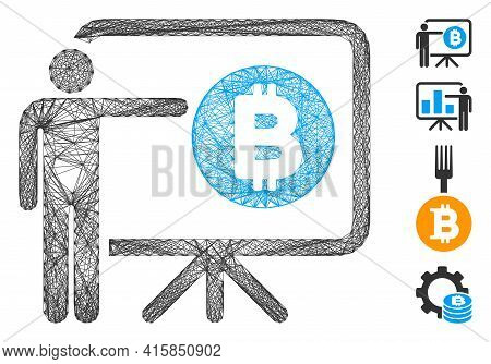 Vector Wire Frame Bitcoin Lecture Board. Geometric Wire Carcass Flat Net Generated With Bitcoin Lect