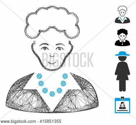 Vector Network Blonde Lady. Geometric Wire Carcass 2d Network Made From Blonde Lady Icon, Designed F