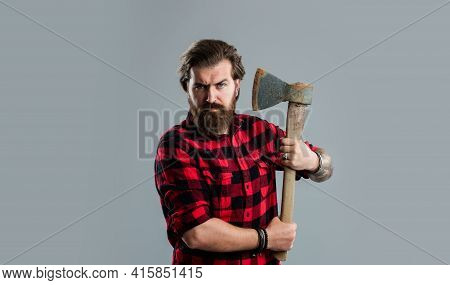 Grooming Of Real Man. Handsome Hipster With Axe. Logger Or Axeman Concept
