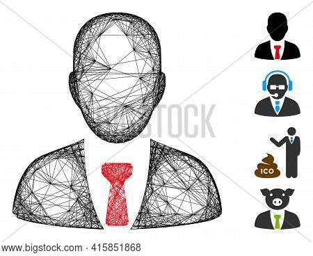 Vector Network Businessman. Geometric Wire Carcass 2d Network Generated With Businessman Icon, Desig