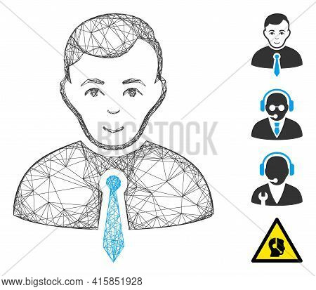 Vector Wire Frame Businessman. Geometric Wire Frame 2d Network Based On Businessman Icon, Designed F