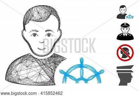 Vector Wire Frame Captain. Geometric Linear Frame 2d Network Generated With Captain Icon, Designed W