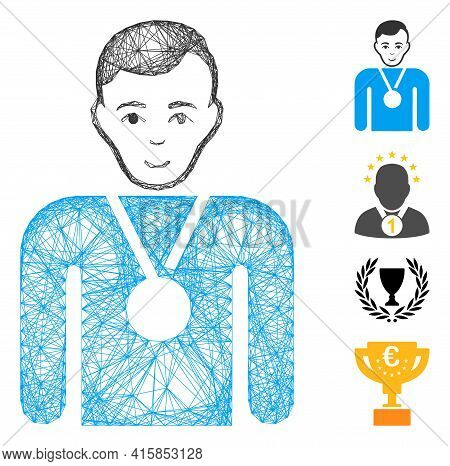 Vector Wire Frame Champion. Geometric Linear Frame Flat Net Made From Champion Icon, Designed From C