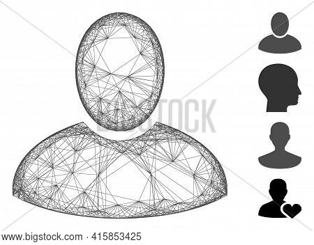 Vector Net Client. Geometric Linear Carcass 2d Net Made From Client Icon, Designed From Intersected