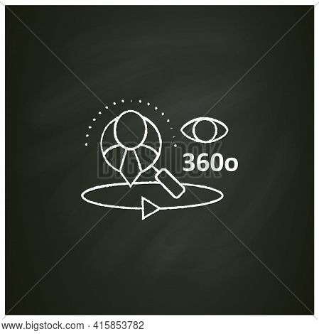 360-degree Customer View Chalk Icon.all Client Data In One Place. Interactions With Customer Service
