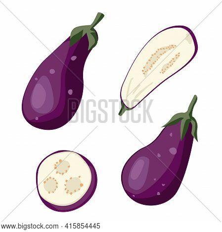 Set With Eggplants Eggplants, Eggplant Slices On White Background