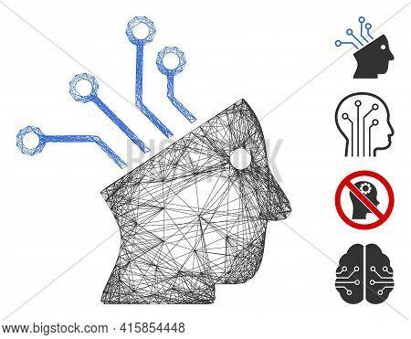 Vector Net Cyborg Brain Circuit. Geometric Hatched Carcass Flat Net Made From Cyborg Brain Circuit I
