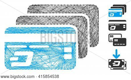 Vector Wire Frame Dash Bank Cards. Geometric Wire Frame 2d Net Made From Dash Bank Cards Icon, Desig