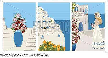 Vector Set Summer Vacation Theme And Inspiration. Beautiful Girl Tourist And Abstract Place, Village