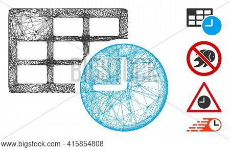 Vector Wire Frame Date And Time. Geometric Wire Frame 2d Network Made From Date And Time Icon, Desig