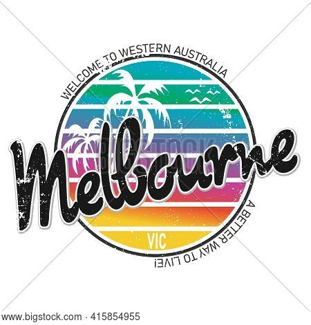 Melbourne, Phrase. Concept Of Simple Text For Typography Poster, Sticker Design, Apparel Print, Gree