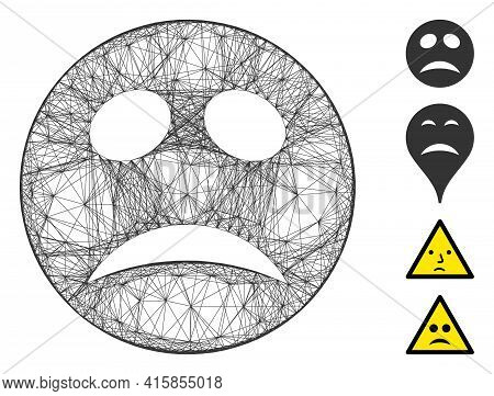 Vector Wire Frame Depression Smiley. Geometric Linear Frame 2d Net Based On Depression Smiley Icon,