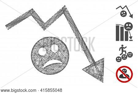 Vector Wire Frame Depression Trend Arrow. Geometric Hatched Carcass Flat Network Made From Depressio