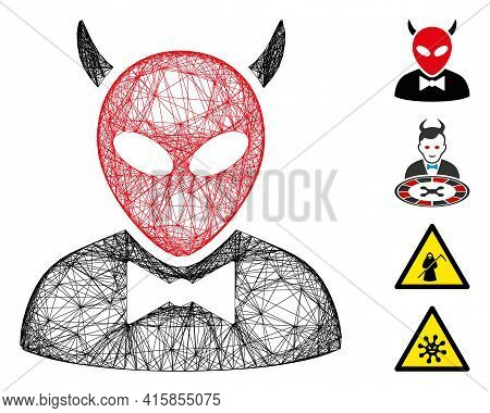 Vector Net Devil. Geometric Hatched Frame 2d Net Made From Devil Icon, Designed From Crossing Lines.