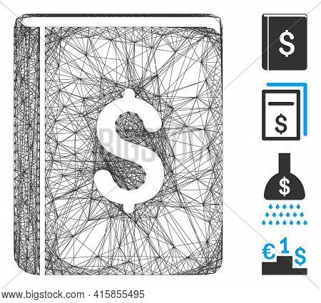 Vector Wire Frame Dollar Book. Geometric Linear Frame Flat Network Made From Dollar Book Icon, Desig
