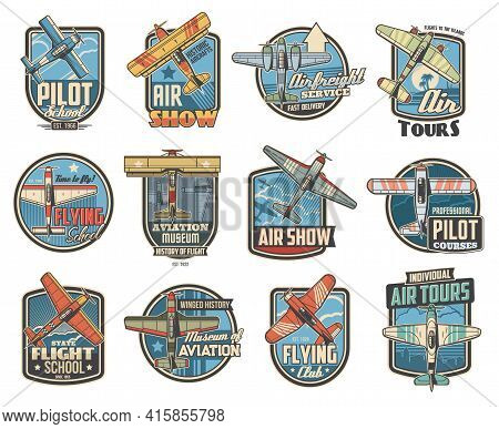 Pilot School And Aviation Show Icons. Air Travel Tours, Historical Aircraft Museum And Airfreight Se