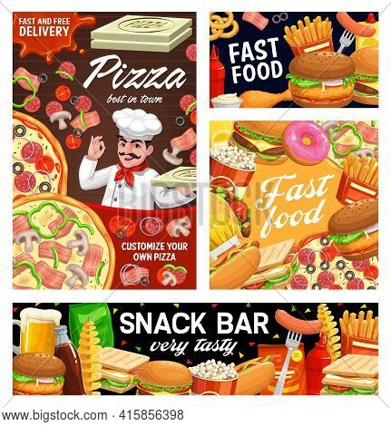 Fast Food Burgers, Sandwiches, Pizza And Hot Dog Menu, Vector Banners, Posters. Fastfood Snacks Bar