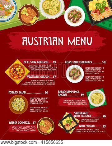 Austrian Restaurant Meals Menu Vector Cover. Meat Stew, Vegetable Goulash And Roast Beef Esterhazy,