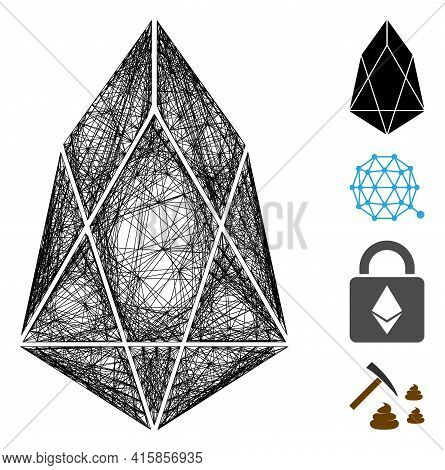 Vector Net Eos Currency. Geometric Wire Carcass 2d Net Generated With Eos Currency Icon, Designed Wi