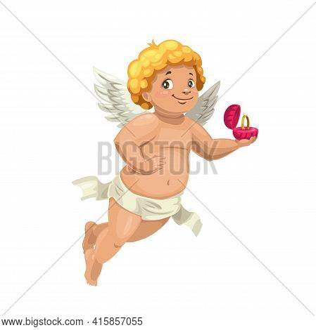 Cupid Angel With Engagement Ring, Vector Wedding Character. Cartoon Amur Or Cherub Character With Wh