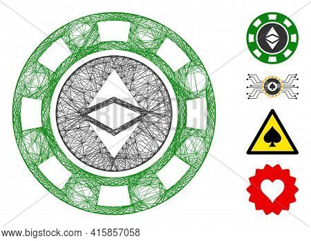 Vector Net Ethereum Casino Chip. Geometric Hatched Frame Flat Net Generated With Ethereum Casino Chi