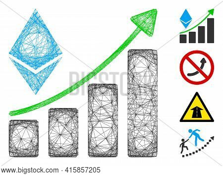 Vector Net Ethereum Growth Trend. Geometric Linear Carcass 2d Net Made From Ethereum Growth Trend Ic
