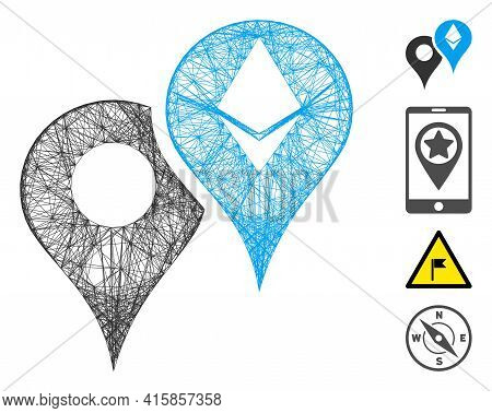 Vector Wire Frame Ethereum Map Markers. Geometric Wire Carcass 2d Net Generated With Ethereum Map Ma