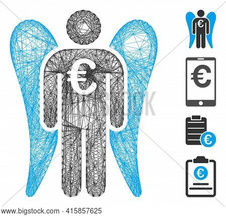 Vector Wire Frame Euro Angel Investor. Geometric Wire Carcass 2d Network Generated With Euro Angel I