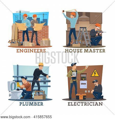 Construction Engineer, Electrician, Plumber Vector Workers. Building Architects With Blueprint Const