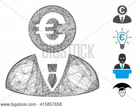 Vector Net Euro Banker. Geometric Wire Carcass 2d Net Generated With Euro Banker Icon, Designed With