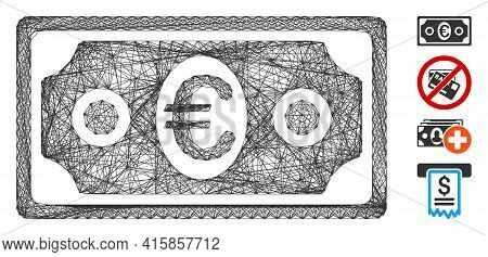 Vector Wire Frame Euro Banknote. Geometric Linear Frame Flat Network Generated With Euro Banknote Ic