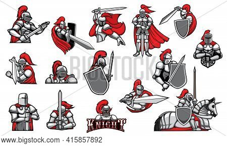 Knights With Swords, Isolated Heraldic Vector Mascots. Heraldic Symbols Of Royal Knight In Helmet Wi