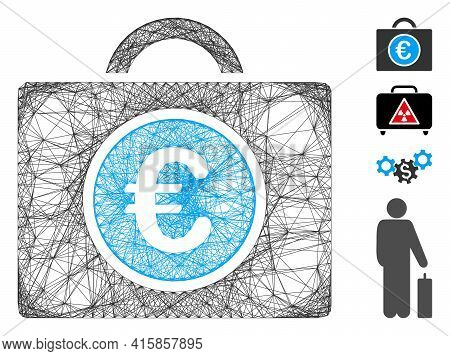 Vector Wire Frame Euro Bookkeeping. Geometric Wire Frame Flat Network Generated With Euro Bookkeepin