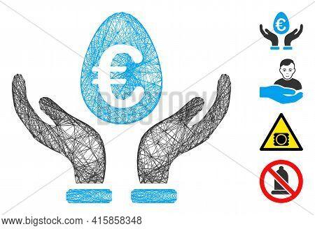 Vector Network Euro Deposit Care. Geometric Wire Carcass 2d Network Made From Euro Deposit Care Icon