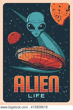 Alien Head, Planets And Ufo Spaceship In Space, Vector Extraterrestrial Comer With Blue Skin And Hug