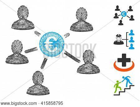Vector Wire Frame Euro Social Links. Geometric Wire Frame 2d Network Based On Euro Social Links Icon