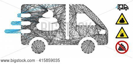 Vector Wire Frame Express Manure Delivery. Geometric Wire Frame 2d Network Based On Express Manure D