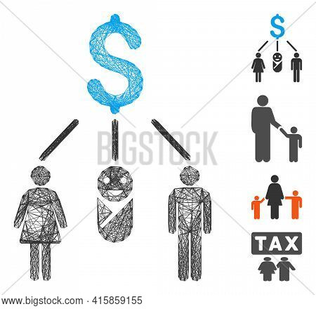 Vector Net Family Budget. Geometric Hatched Frame Flat Net Made From Family Budget Icon, Designed Fr