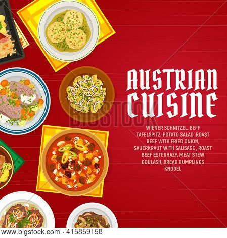 Austrian Food Cuisine Dishes Menu Vector Banner. Bread Dumplings Knodel, Sauerkraut With Sausage And
